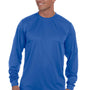 Augusta Sportswear Mens Royal Blue Moisture Wicking Long Sleeve Crewneck T-Shirt
