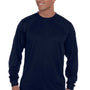Augusta Sportswear Mens Navy Blue Moisture Wicking Long Sleeve Crewneck T-Shirt