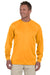 Augusta Sportswear 788 Mens Moisture Wicking Long Sleeve Crewneck T-Shirt Gold Front