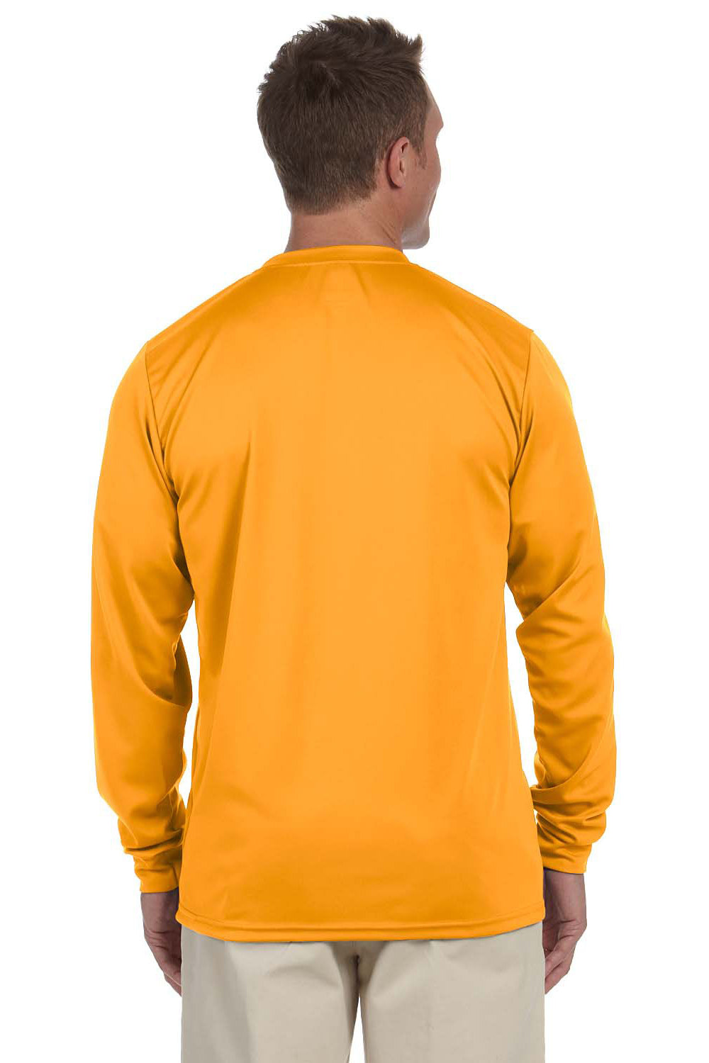 Augusta Sportswear 788 Mens Moisture Wicking Long Sleeve Crewneck T-Shirt Gold Back
