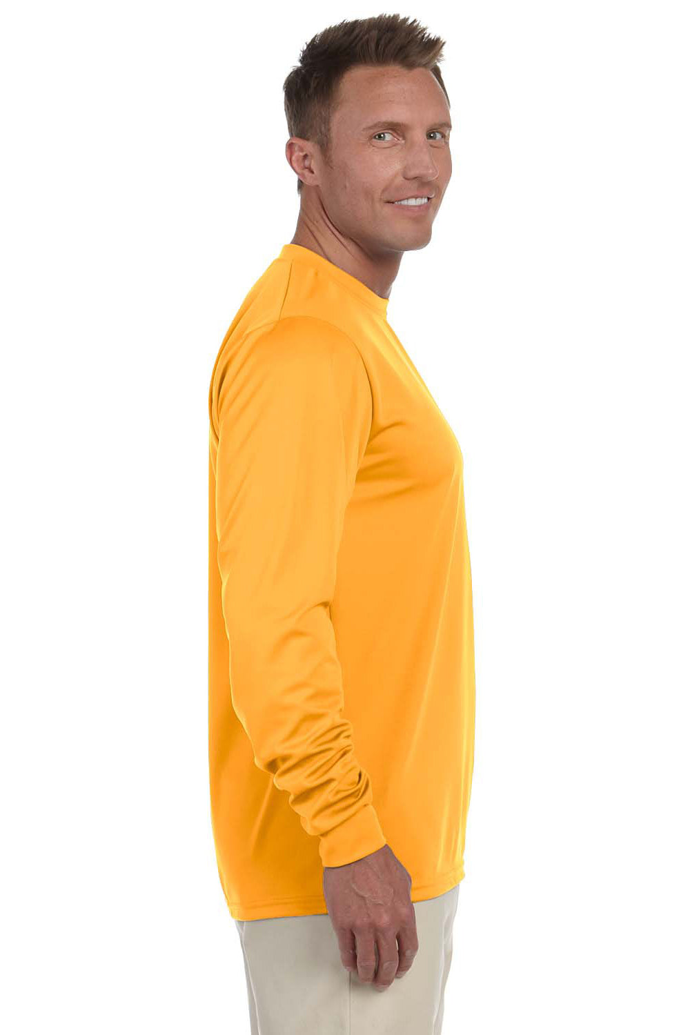 Augusta Sportswear 788 Mens Moisture Wicking Long Sleeve Crewneck T-Shirt Gold Side