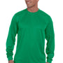 Augusta Sportswear Mens Kelly Green Moisture Wicking Long Sleeve Crewneck T-Shirt