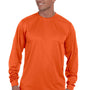 Augusta Sportswear Mens Orange Moisture Wicking Long Sleeve Crewneck T-Shirt