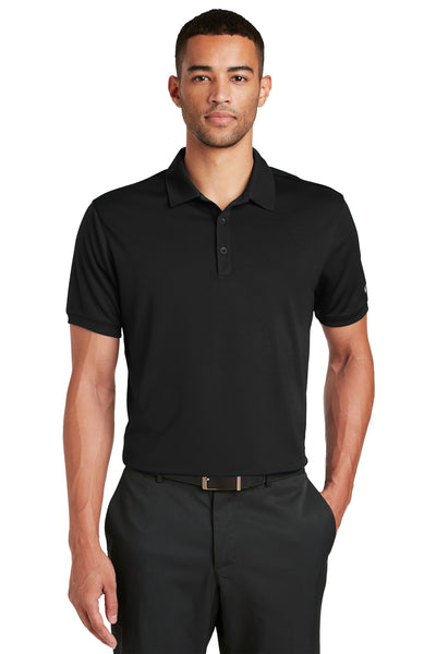 Nike 799802 Mens Players Dri-Fit Moisture Wicking Short Sleeve Polo Shirt Black Front