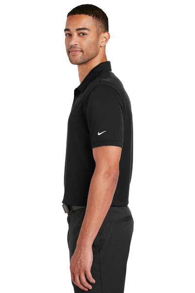 Nike 799802 Mens Players Dri-Fit Moisture Wicking Short Sleeve Polo Shirt Black Side