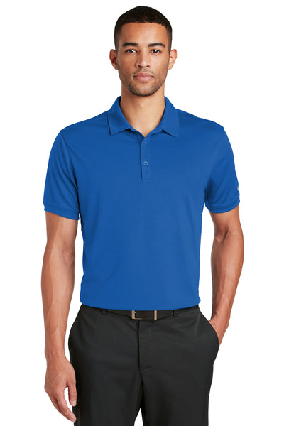Nike 799802 Mens Players Dri-Fit Moisture Wicking Short Sleeve Polo Shirt Royal Blue Front