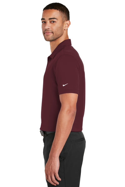 Nike 799802 Mens Players Dri-Fit Moisture Wicking Short Sleeve Polo Shirt Team Red Side