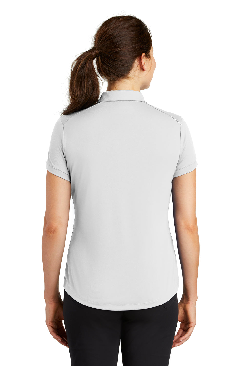 Nike 811807 Womens Players Dri-Fit Moisture Wicking Short Sleeve Polo Shirt White Back