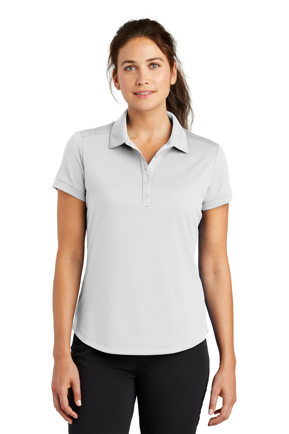 Nike 811807 Womens Players Dri-Fit Moisture Wicking Short Sleeve Polo Shirt White Front