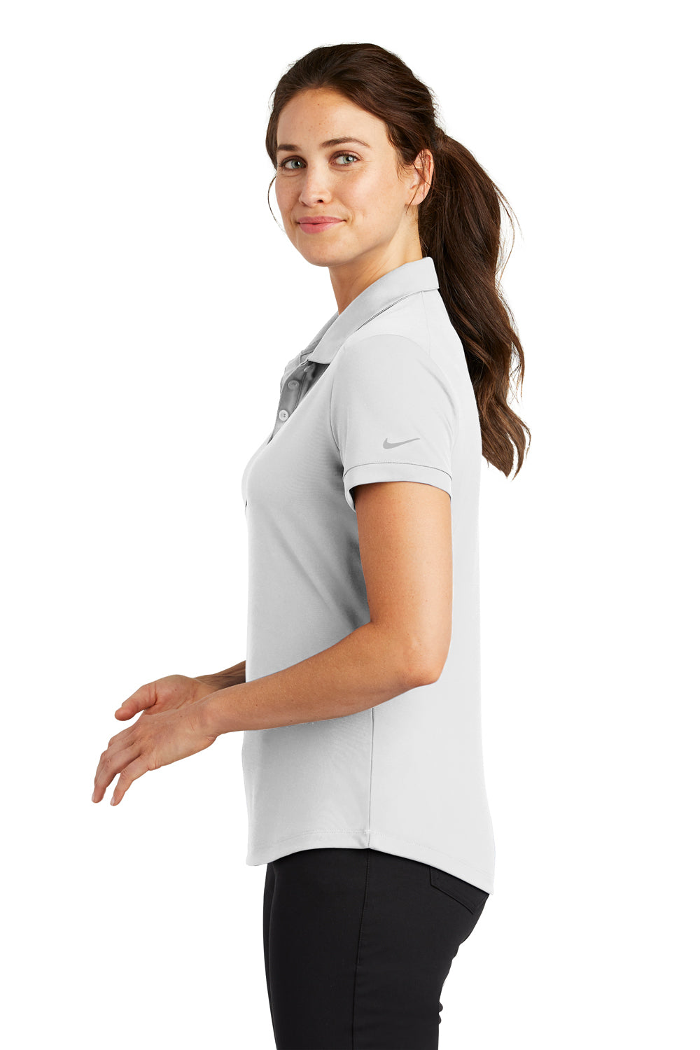 Nike 811807 Womens Players Dri-Fit Moisture Wicking Short Sleeve Polo Shirt White Side