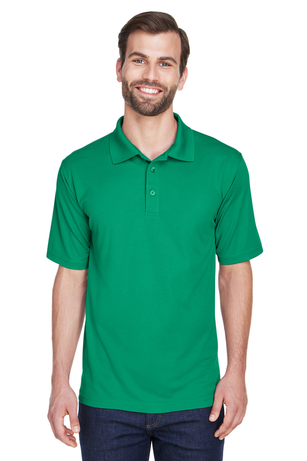 UltraClub 8210 Mens Cool & Dry Moisture Wicking Short Sleeve Polo Shirt Kelly Green Front