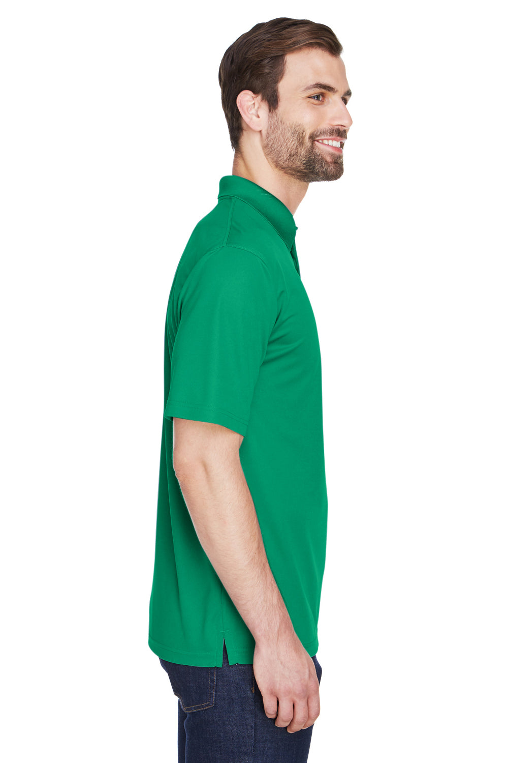 UltraClub 8210 Mens Cool & Dry Moisture Wicking Short Sleeve Polo Shirt Kelly Green Side