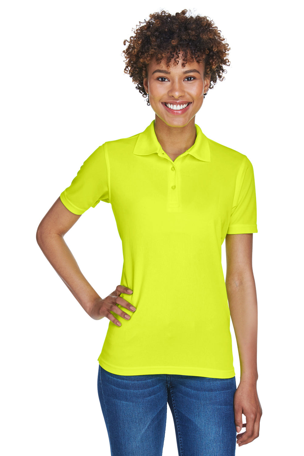 UltraClub 8210L Womens Cool & Dry Moisture Wicking Short Sleeve Polo Shirt Bright Yellow Front