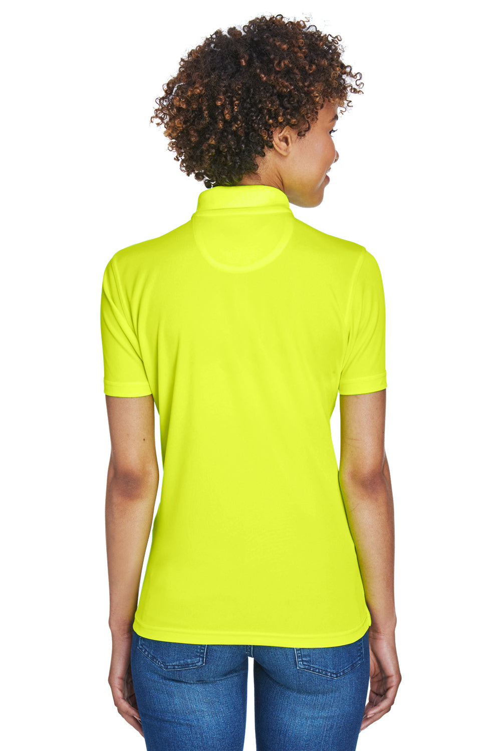 UltraClub 8210L Womens Cool & Dry Moisture Wicking Short Sleeve Polo Shirt Bright Yellow Back