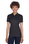 UltraClub 8210L Womens Cool & Dry Moisture Wicking Short Sleeve Polo Shirt Black Front
