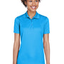 UltraClub Womens Cool & Dry Moisture Wicking Short Sleeve Polo Shirt - Coast Blue