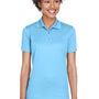 UltraClub Womens Cool & Dry Moisture Wicking Short Sleeve Polo Shirt - Columbia Blue