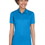 UltraClub Womens Cool & Dry Moisture Wicking Short Sleeve Polo Shirt - Pacific Blue