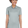 UltraClub Womens Cool & Dry Moisture Wicking Short Sleeve Polo Shirt - Silver Grey