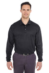 UltraClub 8210LS Mens Cool & Dry Moisture Wicking Long Sleeve Polo Shirt Black Front