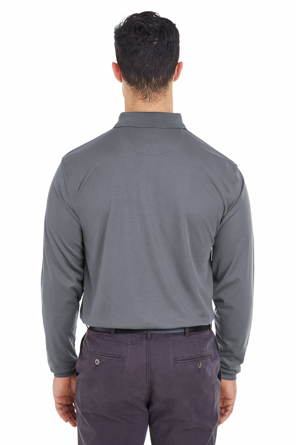 UltraClub 8210LS Mens Cool & Dry Moisture Wicking Long Sleeve Polo Shirt Charcoal Grey Back