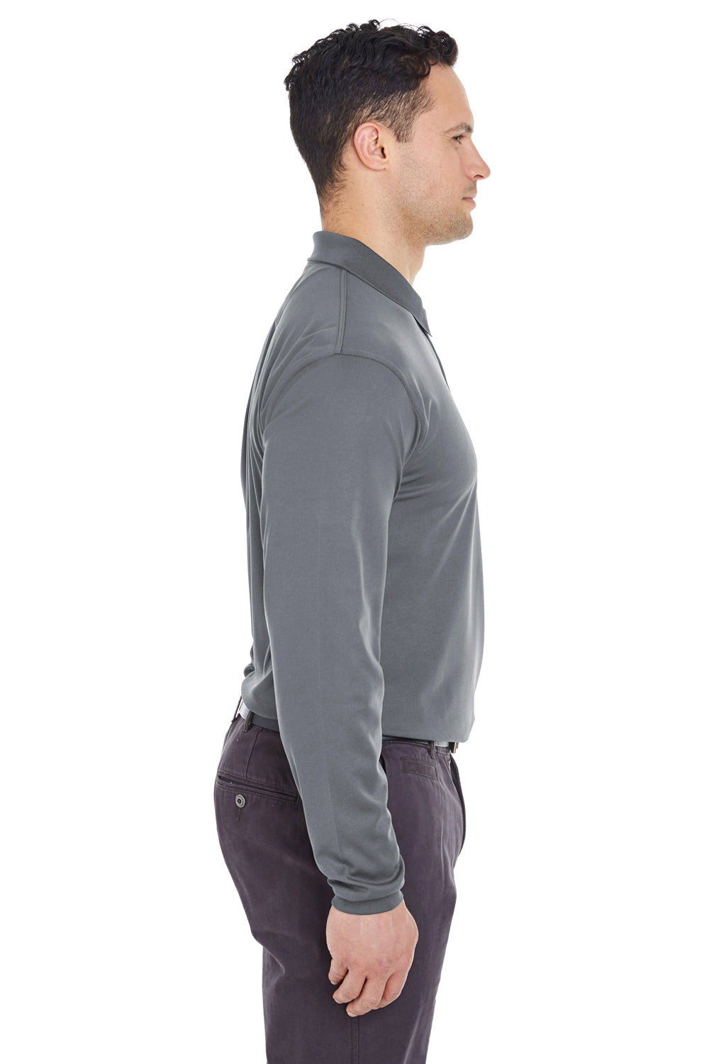 UltraClub 8210LS Mens Cool & Dry Moisture Wicking Long Sleeve Polo Shirt Charcoal Grey Side