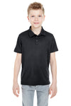 UltraClub 8210Y Youth Cool & Dry Moisture Wicking Short Sleeve Polo Shirt Black Front
