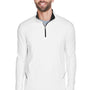 UltraClub Mens Cool & Dry Moisture Wicking 1/4 Zip Sweatshirt - White