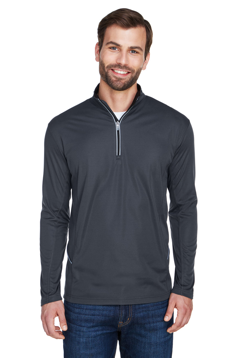 UltraClub 8230 Mens Cool & Dry Moisture Wicking 1/4 Zip Sweatshirt Black Front