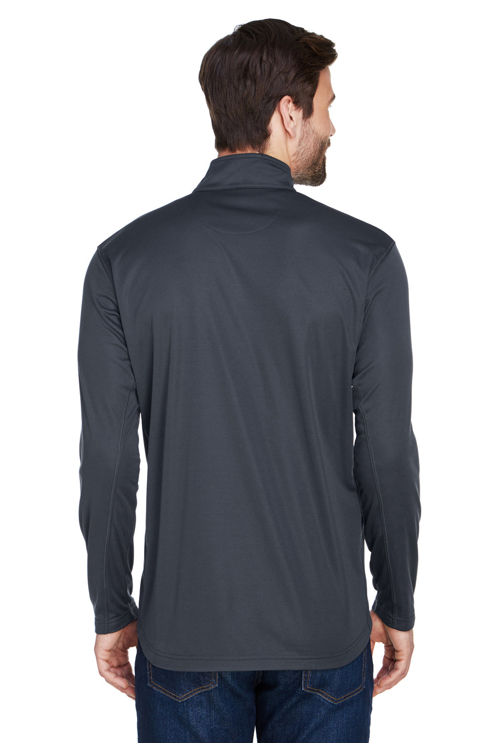 UltraClub 8230 Mens Cool & Dry Moisture Wicking 1/4 Zip Sweatshirt Black Back