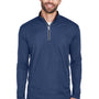 UltraClub Mens Cool & Dry Moisture Wicking 1/4 Zip Sweatshirt - Navy Blue