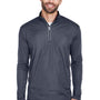 UltraClub Mens Cool & Dry Moisture Wicking 1/4 Zip Sweatshirt - Charcoal Grey