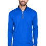 UltraClub Mens Cool & Dry Moisture Wicking 1/4 Zip Sweatshirt - Royal Blue