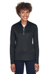 UltraClub 8230L Womens Cool & Dry Moisture Wicking 1/4 Zip Sweatshirt Black Front