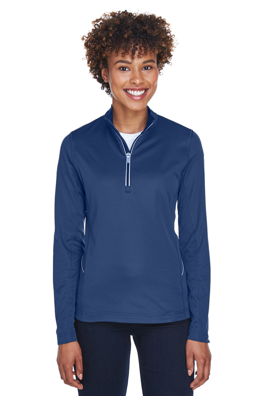 UltraClub 8230L Womens Cool & Dry Moisture Wicking 1/4 Zip Sweatshirt Navy Blue Front