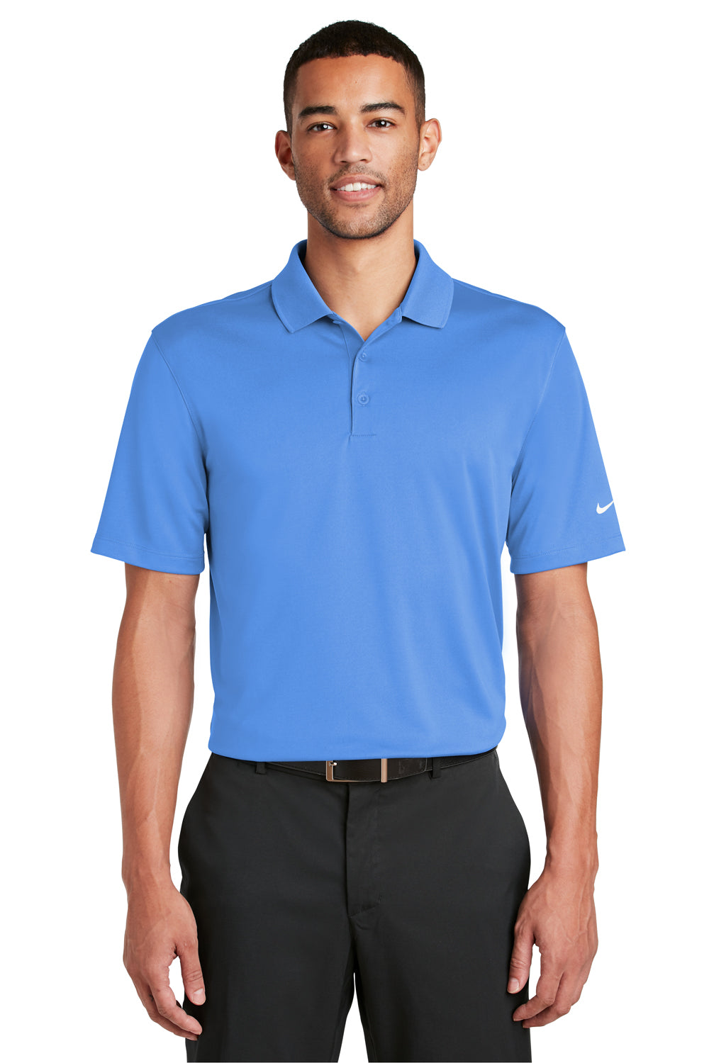 Nike 838956 Mens Players Dri-Fit Moisture Wicking Short Sleeve Polo Shirt Pacific Blue Front
