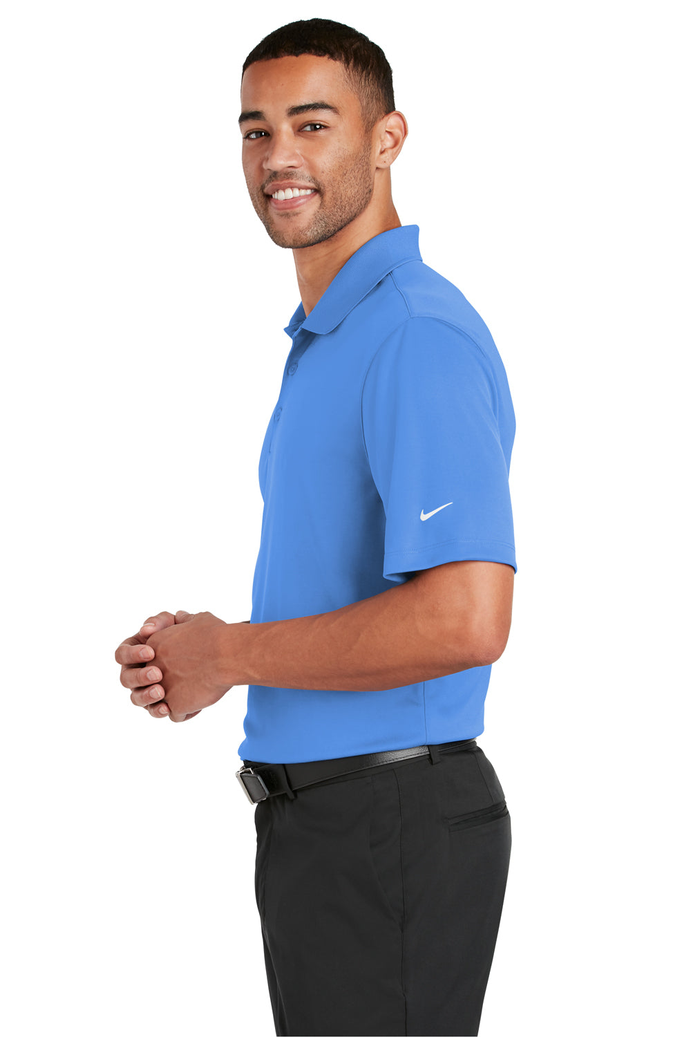 Nike 838956 Mens Players Dri-Fit Moisture Wicking Short Sleeve Polo Shirt Pacific Blue Side