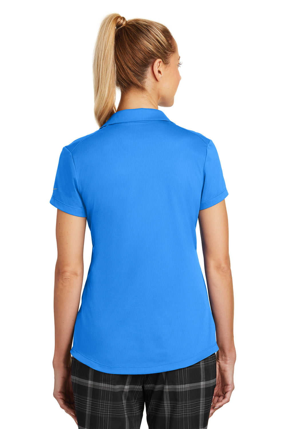 Nike 838957 Womens Legacy Dri-Fit Moisture Wicking Short Sleeve Polo Shirt Photo Blue Back