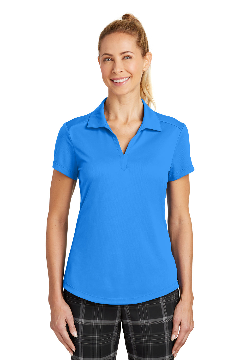 Nike 838957 Womens Legacy Dri-Fit Moisture Wicking Short Sleeve Polo Shirt Photo Blue Front