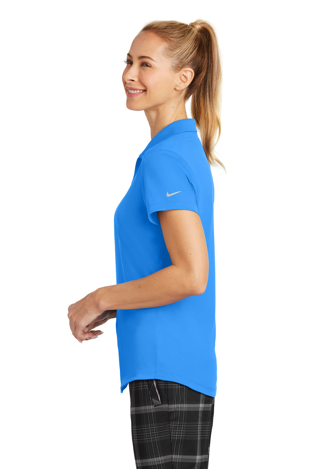 Nike 838957 Womens Legacy Dri-Fit Moisture Wicking Short Sleeve Polo Shirt Photo Blue Side