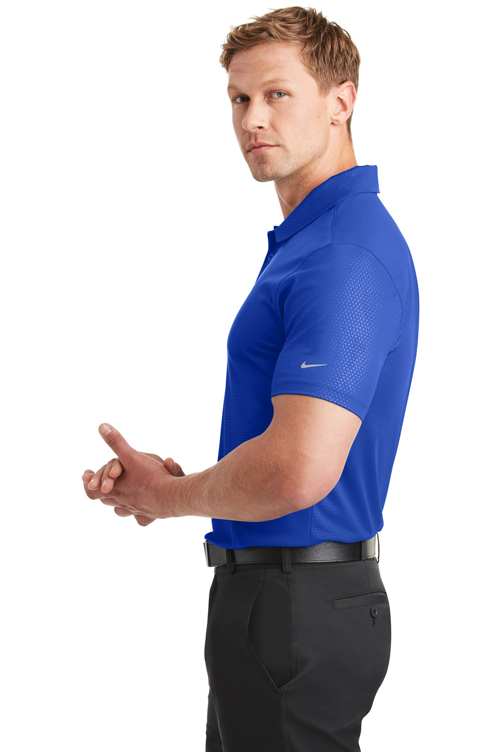 Nike 838964 Mens Dri-Fit Moisture Wicking Short Sleeve Polo Shirt Royal Blue Side