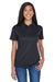 UltraClub 8404 Womens Cool & Dry Moisture Wicking Short Sleeve Polo Shirt Black Front