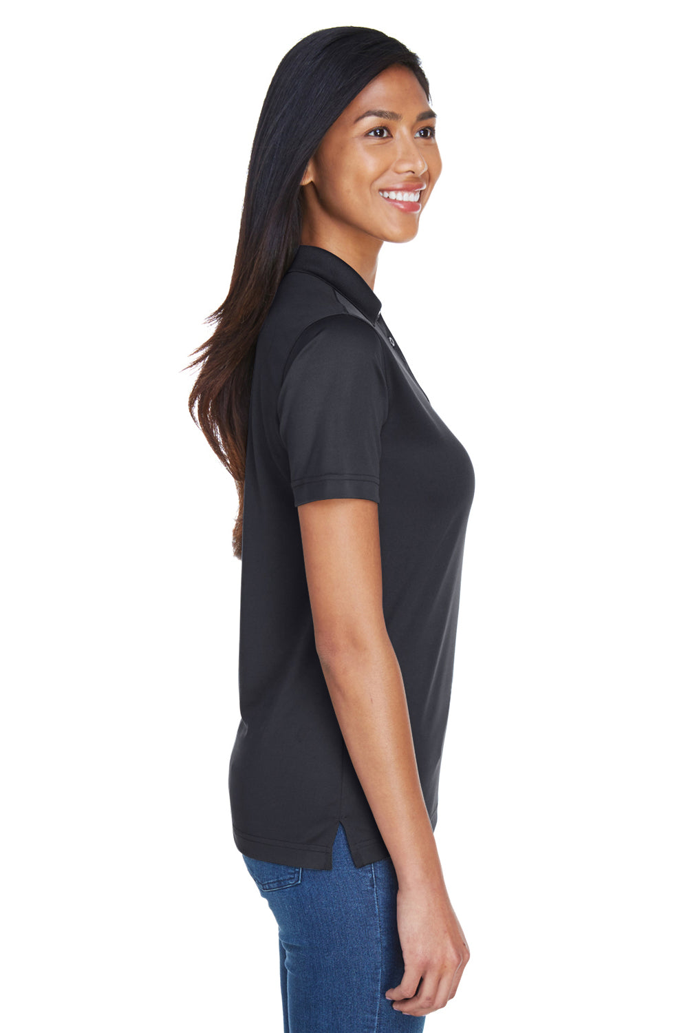 UltraClub 8404 Womens Cool & Dry Moisture Wicking Short Sleeve Polo Shirt Black Side