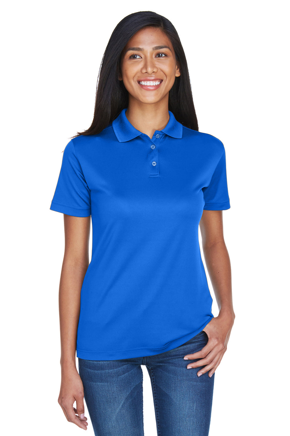 UltraClub 8404 Womens Cool & Dry Moisture Wicking Short Sleeve Polo Shirt Royal Blue Front