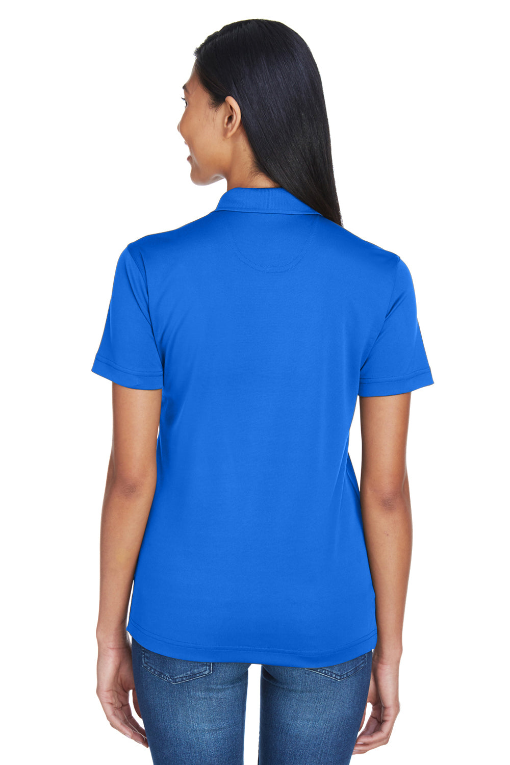 UltraClub 8404 Womens Cool & Dry Moisture Wicking Short Sleeve Polo Shirt Royal Blue Back