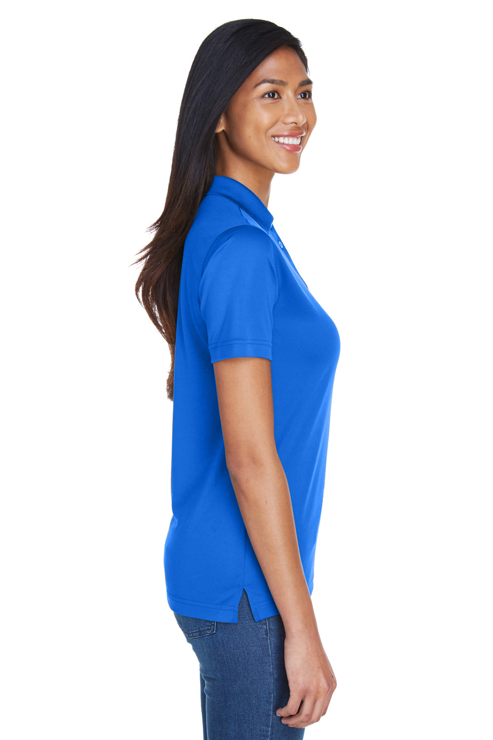 UltraClub 8404 Womens Cool & Dry Moisture Wicking Short Sleeve Polo Shirt Royal Blue Side