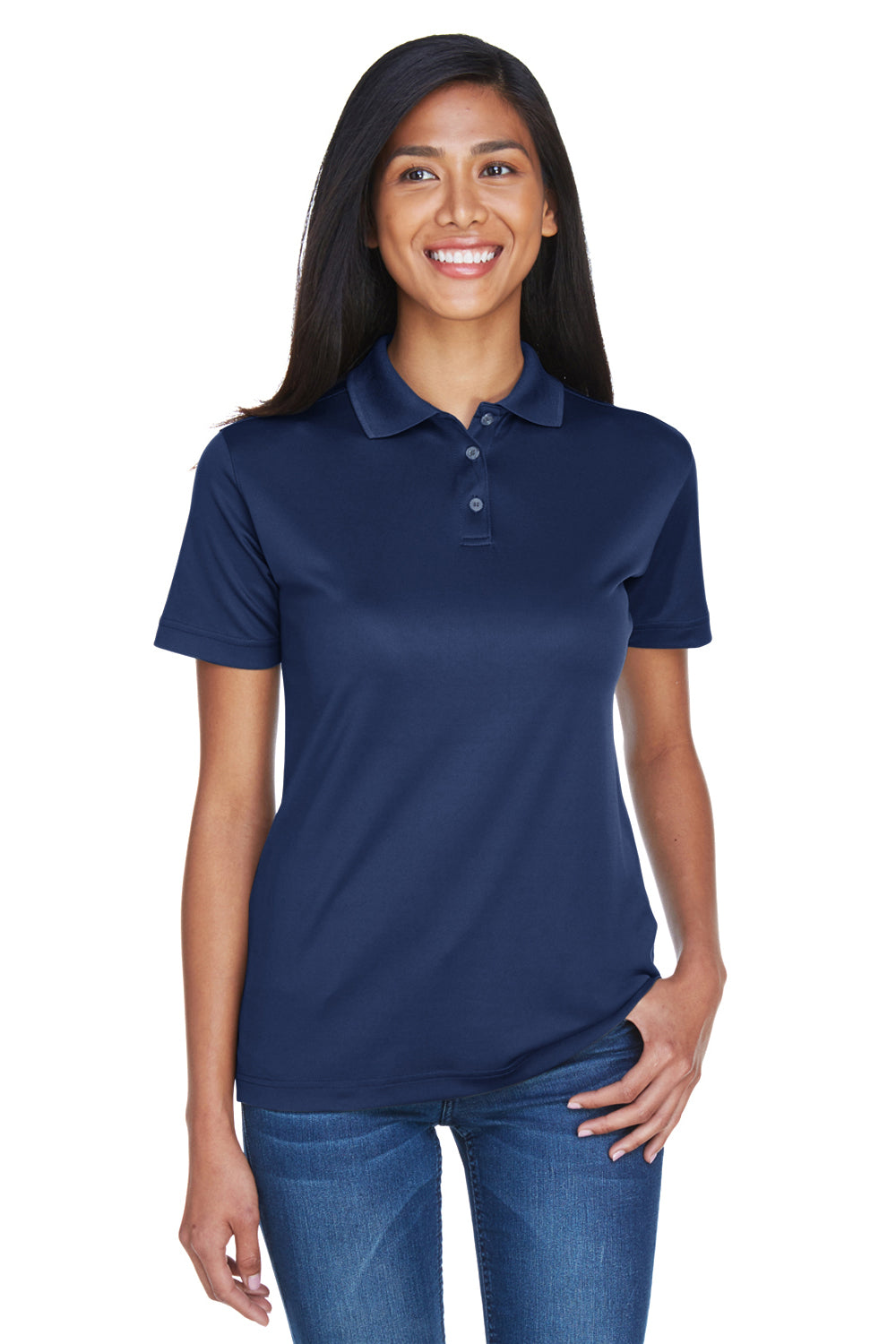 UltraClub 8404 Womens Cool & Dry Moisture Wicking Short Sleeve Polo Shirt Navy Blue Front