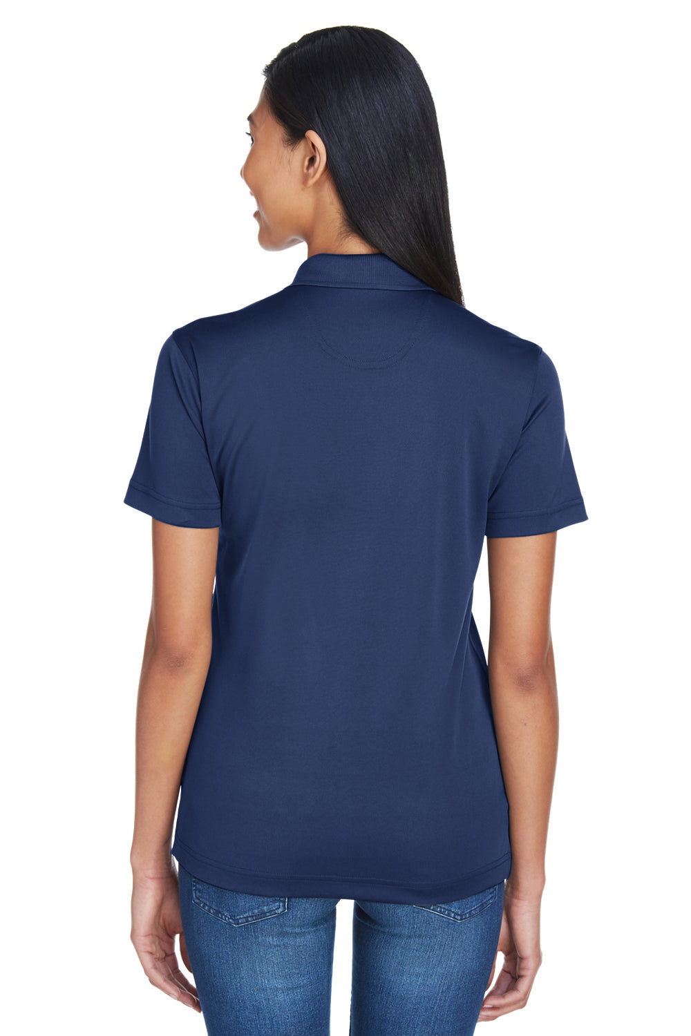 UltraClub 8404 Womens Cool & Dry Moisture Wicking Short Sleeve Polo Shirt Navy Blue Back