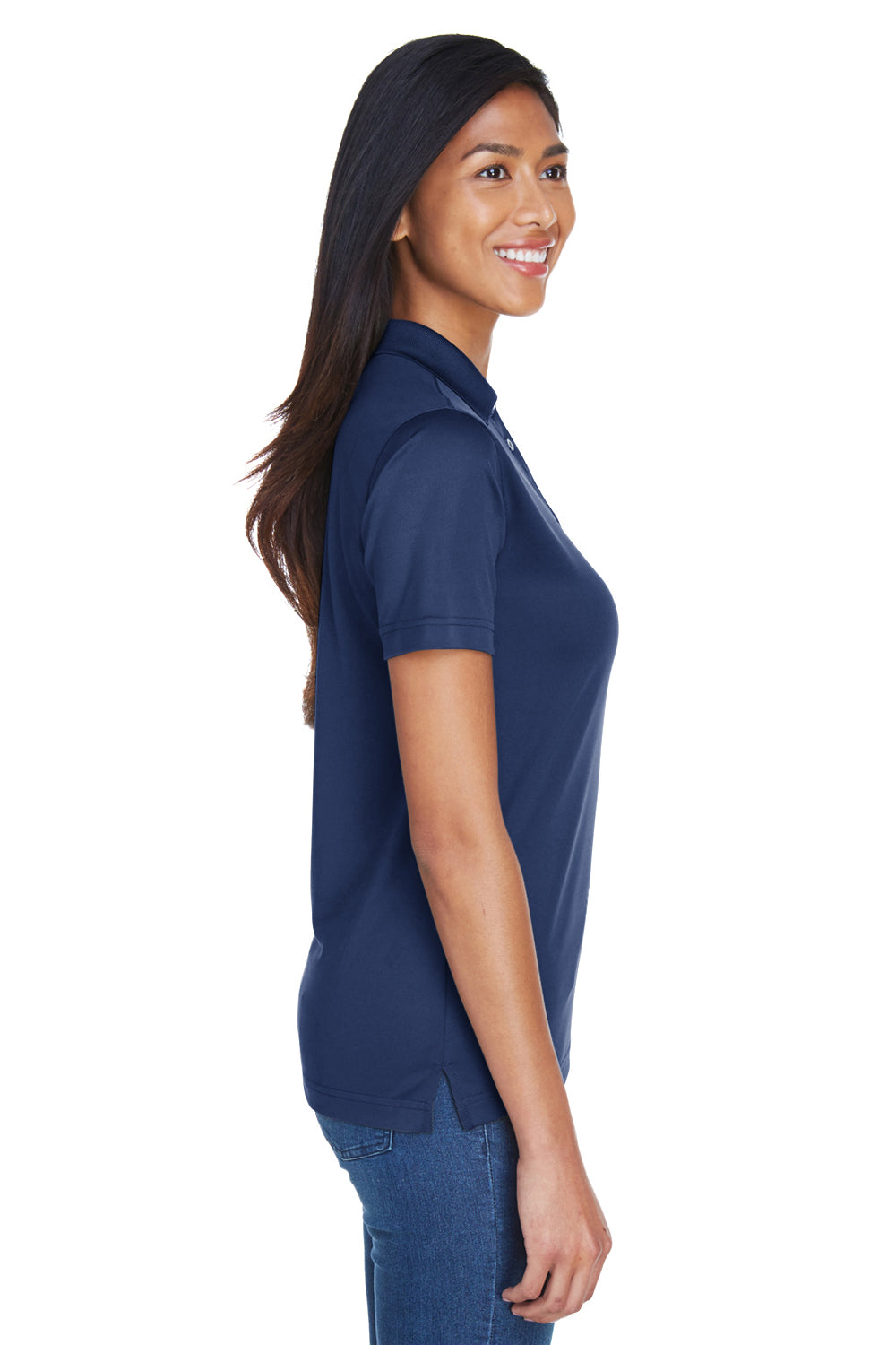UltraClub 8404 Womens Cool & Dry Moisture Wicking Short Sleeve Polo Shirt Navy Blue Side