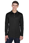 UltraClub 8405LS Mens Cool & Dry Moisture Wicking Long Sleeve Polo Shirt Black Front
